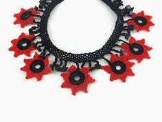 Crochet Necklace Red And Black Star Crochet Necklace by Nakkashe