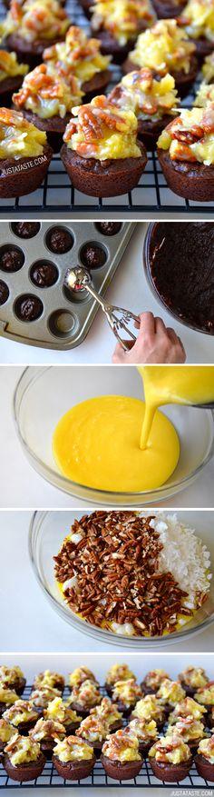 German Chocolate Brownie Bites #recipe