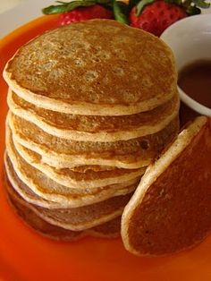 Whole Wheat Banana Pancakes. Use soy milk instead of cows and flax seed or egg replacer and these babies are delish!