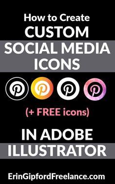 Adobe Illustrator Tutorial: How to customize your social media icons Adobe Illustrator Tutorials, Photoshop Illustrator, Adobe Photoshop, Freelance Graphic Design, Social Media Icons, Graphic Design Tutorials, Photoshop Tutorial, Graphic Design Illustration, Logo Design