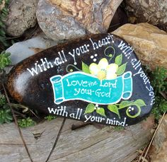 Hand Painted Idaho Rock-Acrylic Original,Bible Verse-Scripture-Turquoise-yellow-white-paper weight-shelf sitter by Paintinstuff on Etsy https://www.etsy.com/listing/520394471/hand-painted-idaho-rock-acrylic