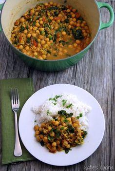 Curry de espinaca y garbanzos