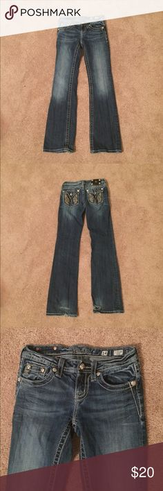KIDS Miss Me Distressed Boot Cut Jeans 5 pockets, bejeweled back pockets. Some jewels scratched. Back of legs are fraying. Please see pics for damage. 98% cotton, 2% elastane. Machine wash cold. Miss Me Bottoms Jeans