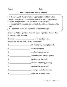 1000 images about grammar on pinterest dependent clause worksheets and complex sentences. Black Bedroom Furniture Sets. Home Design Ideas