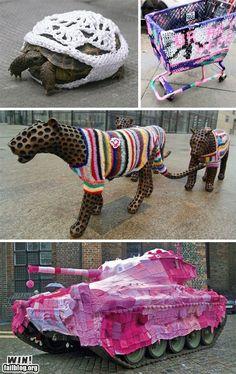 Yarn-bombing...even on a tank!