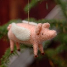 SHIPS 12/17 When Pigs Fly  Needle Felted by BossysFeltworks, $35.00