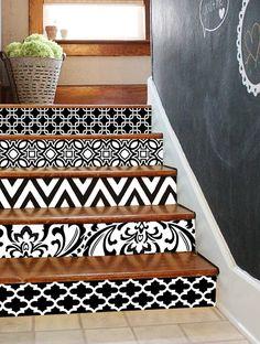Stair Riser Vinyl Strips Removable Sticker Peel & Stick 15steps : Black Vogue BV001