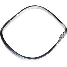 Vintage Sterling Silver Wave Clasp Bangle Bracelet