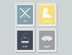 Winter Nursery Decor - Ski Nursery Winter Sports - Set of 4, 8x10 posters - Skiing - Nursery, Home decor, Modern Wall Art
