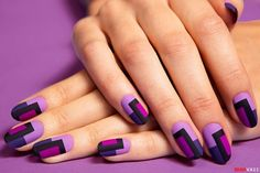 Nail Art Of The Day: DIY Retro Matte Nails. We stumbled upon this fabulous matte nail art and we can't stop talking about it. Nail Art Violet, Purple Nail Art, Matte Nail Art, Pastel Nail, Colorful Nails, Ombre Nail, Nail Nail, Nail Art Stripes, Striped Nails