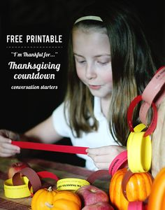 Printable conversation starters to discuss what your family is grateful for.. One for  each day in November until Thanksgiving - such an easy way to get into the spirit of the holiday!