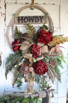 Howdy rope wreath with burgundy peonies and assorted foliage
