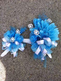 Blue Silk prom or wedding corsage & by HonestlySweetgifts on Etsy
