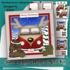 Santas Little Helper Mini Kit by Elaine Hayhoe A fun 8x8 Christmas card kit. There is a card front topper decoupage blank insert Merry Christmas insert and matching gift cards.  Sentiments included are Merry Christmas Happy Holidays Especially for You and blank for your own sentiment.