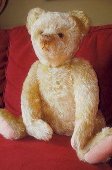 Around 1930 white mohair Cramer teddy bear.