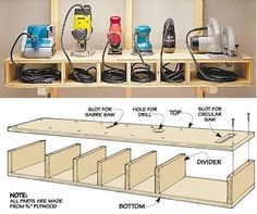Organize sanders and small saws and their cords with this wood cubby-perfect for – Garage Organization DIY Power Tool Storage, Garage Tool Storage, Garage Storage Solutions, Garage Tools, Shed Storage, Diy Storage, Power Tools, Storage Ideas, Garage Shelf