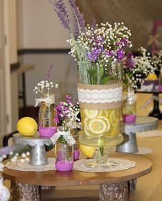I decorated for our Mother's Day dinner at church. It was fun! #lemons and #lavender #burlap and #lace #sweetcharitysbakery
