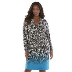 Shop Plus Size Dana Buchman Snakeskin Faux-Wrap Women's Dress - (Clearance Savings)