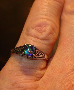 Dainty Filagree Opal ring. Genuine Australian Black by AmyKJewels #opalsaustralia