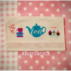Cross stitch  towel / cupcake / tea