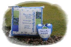 Geldgeschenk Silberhochzeit Kissen-Set mit Namen von Antjes Design auf DaWanda.com