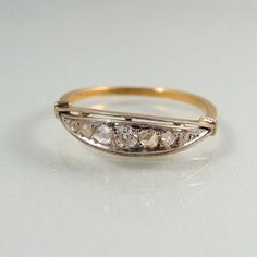 Art deco platinum and 18K solid gold wedding by MidwestArtObjects