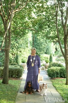 Charlotte Moss, designer with her Cavalier King Charles spaniels, Oscar and Daisy.