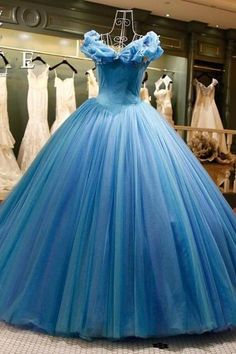 Modest Quinceanera Dress,Blue Ball Gown,A Line Prom Dress,Fashion Prom Dress,Sexy Party Dress, New Style Evening Dress