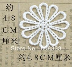 100pcs DIY hair clothes accessories water soluble lace 4.8cm white flower lace trim trimming,contact BDJIN@FOXMAIL.COM for more details