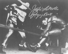 Jake Lamotta Signed 16X20 Photo - (Knocking Sugar Ray Robinson Through Ropes February 1943)
