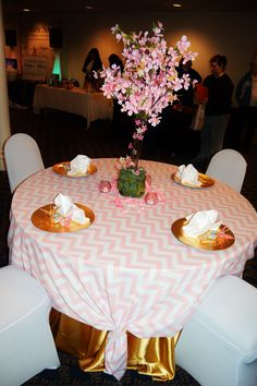 gold and pink cherry blossom chevron origami centerpiece