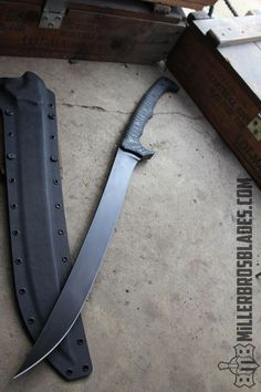 It's almost a cutlass machete. Blades This model is available in Z-Wear PM, CPM and 5160 steels Miller Bros. Tactical Swords, Tactical Knives, Survival Weapons, Weapons Guns, Ninja Weapons, Swords And Daggers, Knives And Swords, Forging Knives, Cool Swords