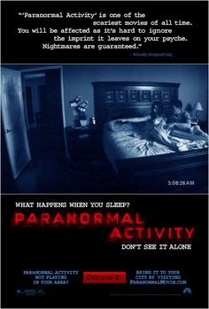 How many paranormal activity movies have there been. Imagine we'll get to see the end, but who knows how many more paranormal. As nick wrote in his earlier take on paranormal activity Horror Movie Posters, Best Horror Movies, Scary Movies, Great Movies, Scary Scary, Creepy Horror, Scary Stuff, Hindi Movies, Kill The Boss