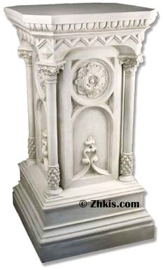 "Large church pedestal this big decorative and ornate pedestal would be perfect for a church to display just about anything. Surface area is 25"" x 25"" made from durable fiberglass with several finish options"