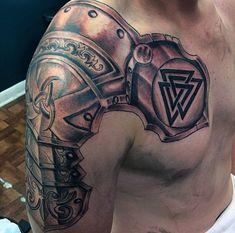 Top 90 Best Armor Tattoo Designs For Men - Walking Fortress Hahn Tattoo, Schulterpanzer Tattoo, Tattoos Masculinas, Irish Tattoos, Norse Tattoo, Tattoo Motive, Viking Tattoos, Body Art Tattoos, Tattoos For Guys