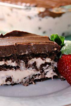 Chocolate-Strawberry Eclair Cake (NO BAKE) | Renee's Kitchen Adventures Easy refrigerator cake that has strawberries in the cream layer.  Yum!