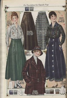 Women's skirts, blouses, and coats, Image Edwardian Dress, Edwardian Fashion, Vintage Fashion, 1914 Fashion, Fashion History, Historical Costume, Historical Clothing, 20th Century Fashion, Vintage Dress Patterns