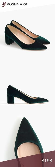 62d3ac246a9 🌿HOST PICK🌿J. Crew Avery velvet pumps Beautiful velvet dark forest green  pumps