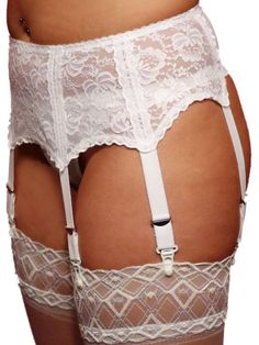 Berdita Lingerie 6 Garter/Suspender Belt with beautiful deep White Lace ( 24022 )