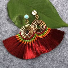 Bonnie Spiral Bohemian Tassel Drop Dangle Earrings Hand Woven On Brass Hoop >>> For more information, visit image link. (This is an affiliate link) Tassel Jewelry, Textile Jewelry, Bead Jewellery, Fabric Jewelry, I Love Jewelry, Antique Jewellery, Simple Earrings, Wire Earrings, Tassel Earrings