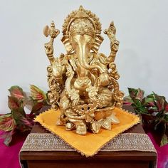 "12"" Lord Ganesh Brass Idol - Decorative Figurine#brass #decorative #figurine #ganesh #idol #lord Wedding Hands, Diwali Gifts, Lord Ganesha, Thanksgiving Gifts, Brass Material, Handicraft, Anniversary Gifts, Hand Carved, Wedding Gifts"