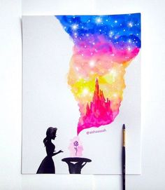 Belle opening the rose and a cloud of Disney appears!! Drawn in watercolor