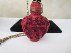 Vintage Carved Red Cinnabar Chinese Asian Snuff Bottle w/ Cap & Spoon and chain #unknown