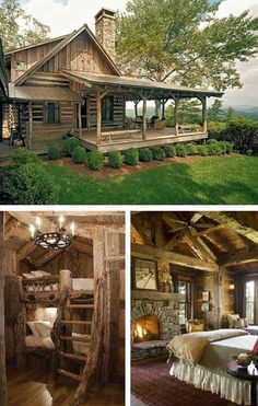 exciting log home decorating ideas. rustic log cabin living  Just the outside it s amazing best porch I ve seen Perfect lake house Only thing is would a few stairs from