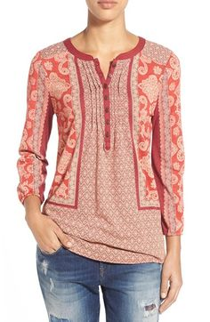 Lucky+Brand+Scarf+Print+Henley+Top+available+at+#Nordstrom
