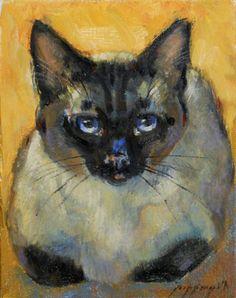 NEW LISTING Siamese Cat mini portrait small by PoppengaArtStudio