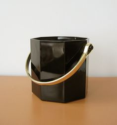 Vintage French Black Glass Ice Bucket