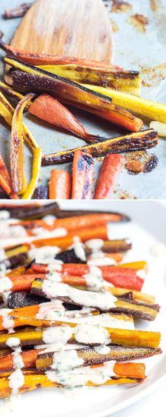 20-Minute Honey Roasted Carrots with Tahini Sauce from @inspiredtaste | inspiredtaste.net