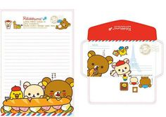 Rilakkuma Letter Paper Set G  3 Sheets and 2 by StickerParadise