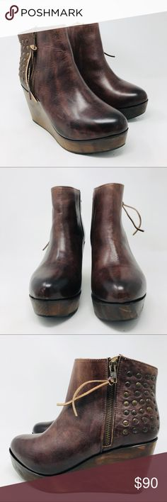 a7ee114677c0 Bed Stu Ghent Cobbler Brown Stud Platform Booties Bed Stu Cobbler Series  Ghent Artisan Brown Leather